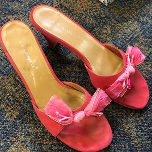 A. Marinelli Fushia Pink Suede Sandals Mules 9N